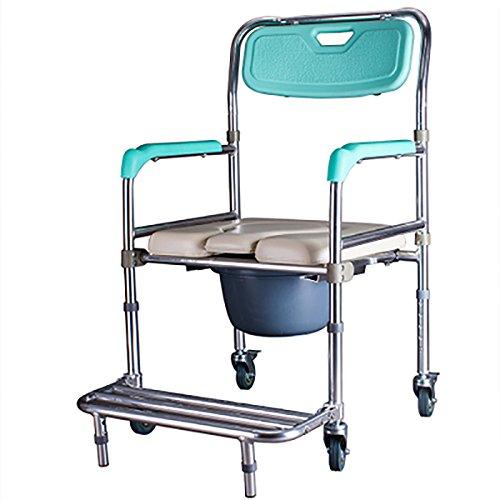 PIGE Aleación de aluminio Polea se sienta en silla plegable silla de baño Vieja mujer embarazada personas con discapacidades WC