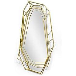Espejo- Espejo de salón Fondo de Pared Espejo Decorativo Espejo de Acero Inoxidable Creativo Estéreo Welcome (Color : B)