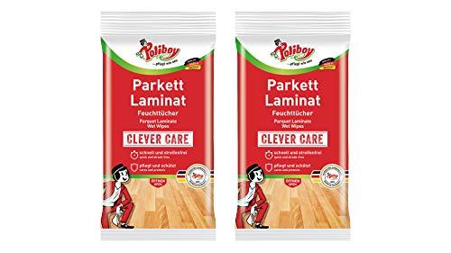 Poliboy - Parkett & Laminat Feuchttücher - gründliche, schnelle Reinigung speziell für Parkett- und Laminatböden - 2er Pack - 2x15 Tücher - Made in Germany