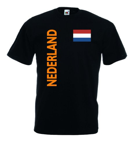 world-of-shirt Nederland/Holland Herren T-Shirt Trikot|schwarz S