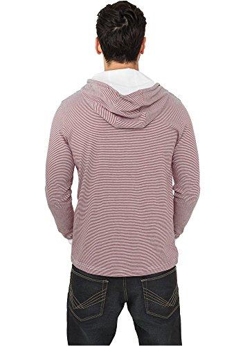 Urban Classics Stripe Jersey Hoodie Hooded-Longsleeve schwarz/weiß ruby-white