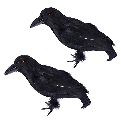 BESTOYARD Simulierte Crows Halloween Crows Requisiten Schwarz Gefiederten Vögel Halloween Party Dekoration 2 STÜCKE (Flauschigen Bauch)