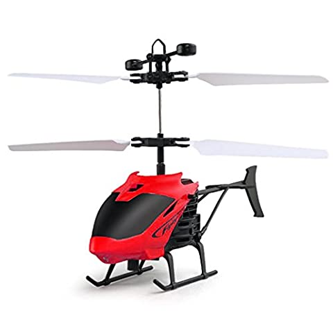 Mini Flying RC Toy, JoyJay Flying RC Infrared Induction Toy Hand Suspension Helicopter Aircraft Flashing Light Toys for Kids (Red)