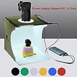 Puluz 20cm x 20cm x 20cm mini Light box Portable photo studio fotografico ripresa tenda pieghevole da tavolo mini kit di illuminazione LED integrata con luci LED e 6sfondi colori (nero, bianco, rosso, blu, verde, arancione)