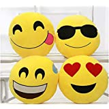 Frantic Premium Quality Soft Plush Cool Dude, Happy Face, Heart Eyes And Hungry Face Decorative Smiley Cushion Pillows - (Set Of 4)