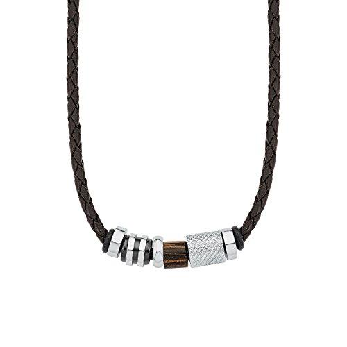 Amor Herren-Kette Lederband Lederkette mit Anhänger Beads Holz Edelstahl braun 45 cm