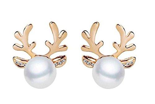 JUNGEN 1 Paar Weihnachten Geweihe Ohrringe Nachahmung Perlenohrringe Ohrschmuck für Damen (Gold)