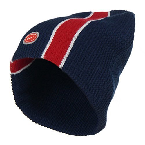 Adults Nike Ribbed Double Knit Warm Navy Red Beanie Hat 568475-410 by Nike