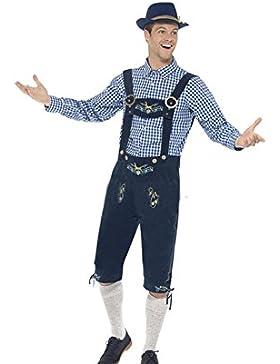 WTUS Lederhose Herren kurz Blau| Trachten Lederhose kurz aus edlem Leder perfekt für Oktoberfest oder Karneval