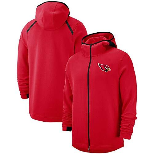 SKLLA Red Rugby Hoodie mit Reißverschluss Arizona Cardinals Jugend Pullover American Football Fashion Rugby Jacke (S-3XL),S~(160~165CM)