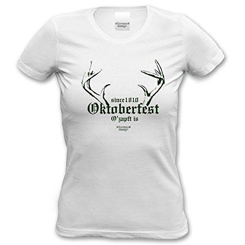 Since 1810 Oktoberfest - Damen-Mädchen-Girlie-T-Shirt Wiesn-Motiv Volksfest-Outif Bekleidung Trachtenshirt Geweih Farbe: weiss Weiß
