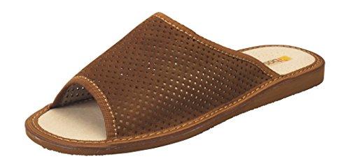 Pantoufles Confortables En Cuir Suédé Chameau - Bout Ouvert