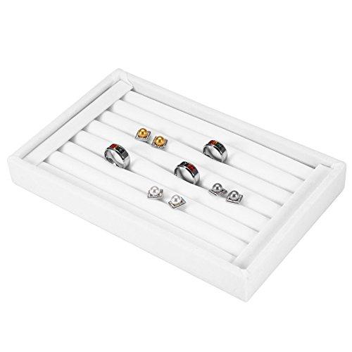 Asixx Schmucklade Ringkasten, Vorlagebrett für Ringe für Haussammlung, Geschäft Anzeige und Persönlichen Gebrauch, 23 x 14.5 x 3cm(Weiß)