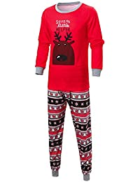 Ropa Conjunto de Pijamas de Dormir Familiares de Navidad para Familia a Juego Padre Madre Niños Bebé Blusa Manga Larga Impresión de Alce+ Pantalones Rayas Traje de Ropa de Mujer Hombre Gusspower