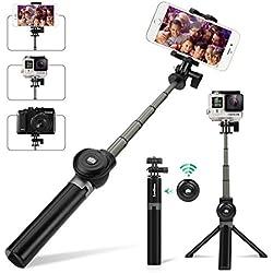 Bastone Selfie Treppiede -Tishow 3 in 1 Estensibile Selfie Stick con Bluetooth Remote Shutter Asta per Selfie per iPhone X, Samsung Galaxy s7 e Android 3.5-6 Pollici Smartphone Rotazione di 360°