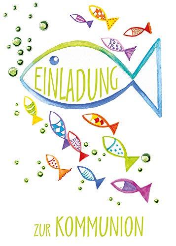 5x Einladungskarten Kommunion - Einladung - Einladungskarten - Für Jungen & Mädchen - In Folienverzierung - DIN A6-5er Set Klappkarten inkl. Innentext & Umschläge - Motiv: Fische