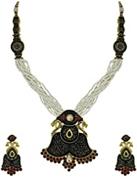Zaveri Pearls Rajasthani Antique Peacock Design Necklace Set For Women - ZPFK5515