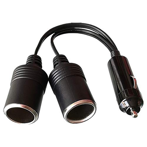 TOOHUI 12 V/24 V Cable de Extensión para Mechero de Coche, Encendedor de Cigarillo Macho a Hembra, Toma de Mechero para Coche, Enchufe Adaptador de Conector de 1 a 2 con el indicador