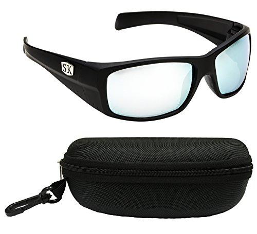 Strike King Plus sg-skp381-cs Ouachita Polarisierte Sonnenbrille Bundle, Schwarz Matt, mit Multi Layer blau Spiegel grau, Boden Objektiv, mit Schwarz Fall