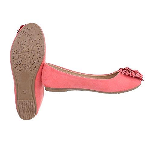 Ballerinas Damenschuhe Geschlossen Blockabsatz Moderne Ital-Design Ballerinas Coral Rot
