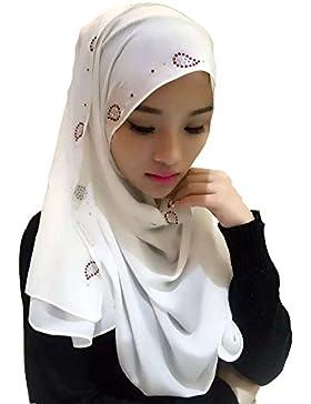 Feicuan Mujer Shine Printed musulmán Pañuelo Chiffon Cabeza Bufanda Arabic Turban Islamic Hijab