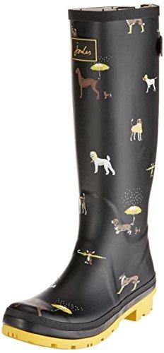 Joules Welly Print, Botas de Agua para Mujer, Negro (Black Raining Dog
