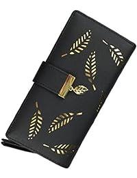 YousonGirl FEMME Porte-monnaie à larges feuilles en cuir élégant Fermeture en boucle à trois boucles avec porte-cadeau supplémentaire Porte-étui pour téléphone