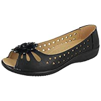 Ladies Faux Leather Laser Cut Open Toe Flower Diamante Lightweight Wide Fit Cushion Comfort Flat Slip On Loafers Moccasin Shoes Size 3-8 (6 UK, Black)
