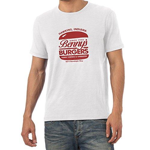 Burger Weißes T-shirt (NERDO Herren Hawkins Burger T-Shirt, Weiß, S)