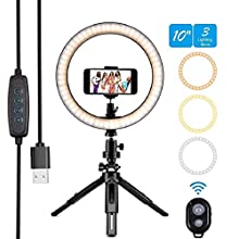 """Rtwrtne 10"""" LED Ring Light with Tripod Stand & Phone Holder, Dimmable Desk Makeup Ring Light, Perfect for Live Streaming & YouTube Video, Photography, 3 Light Modes (10, white)"""