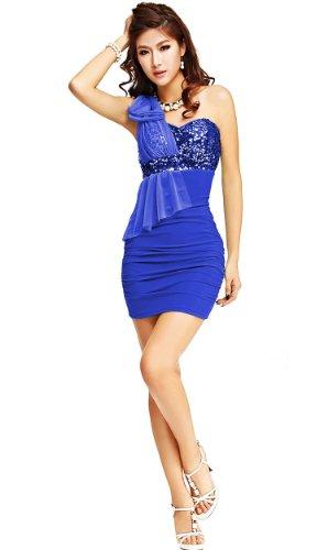 QIYUN.Z Bling De Paillettes Dessus Du Genou Ruffle Une epaule Clubwear Robe Bowknot blue