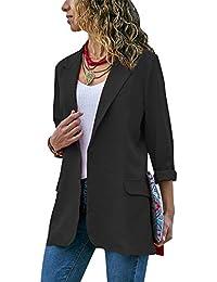 quite nice 31d14 e0de7 Femme Longue Blazer Veste de Tailleur Casual Slim Fit Manches Longues  Costume Manteau Cardigan