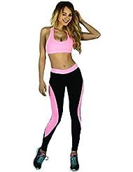 ALAIX Pantalones 2 piezas juego de los deportes Medias ejercicio de yoga polainas de las mujeres Rosa rojo-L