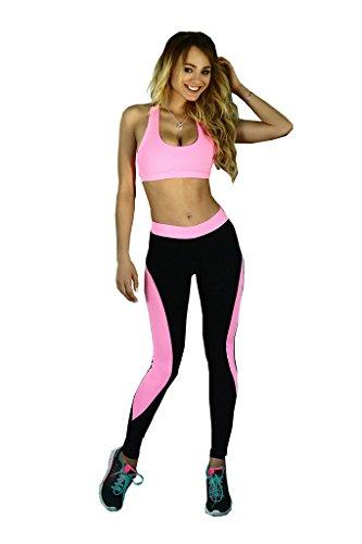 Le donne dicono 2 pezzi Pantaloni esercizio collant vestito di sport di yoga leggings rosso-M