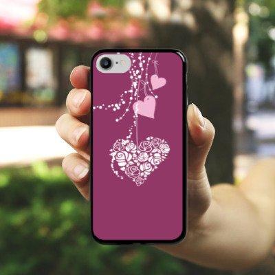 Apple iPhone X Silikon Hülle Case Schutzhülle Love Muster Hängende Herzen Hard Case schwarz