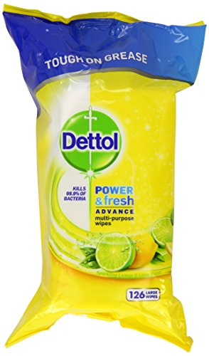 Dettol Power and Fresh Multi-Purpose Wipes, 378 Wipes, Pack of 3 x 126
