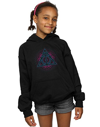 Absolute Cult Harry Potter Girls Neon Deathly Hallows Hoodie