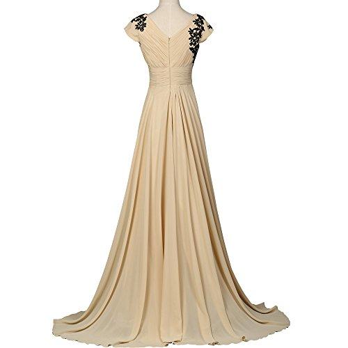 Bridal_Mall - Robe - Trapèze - Sans Manche - Femme Beige