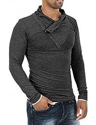 De los hombres de Eleery de inclinación cable de la flexión del para el cuello de manga larga de ciclismo es sudadera con capucha y lote de Sport-camisa instrucciones para coser blusas de líneas delgadas de estilo informal
