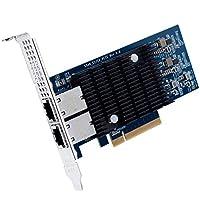 بطاقة شبكة PCI-E 10 جيجا بايت X540-10G-2T، منفذ CNA نحاسي RJ45 مزدوج للكمبيوتر الشخصي مع دعامة منخفضة، محول شبكة متبادلة 10 جيجا بايت (NIC)، شريحة X540، PCI-E X8