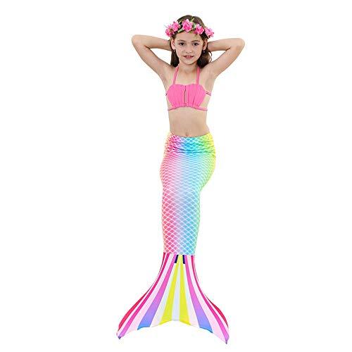 Lml Badeanzug Meerjungfrau Schwanz Mädchen, Badeanzug Meerjungfrau Schwanz, Meerjungfrau Schwanz Schwimmen Mädchen, Jungen, Kinder Und Erwachsene 3-12 (Color : B, Size : 130CM)