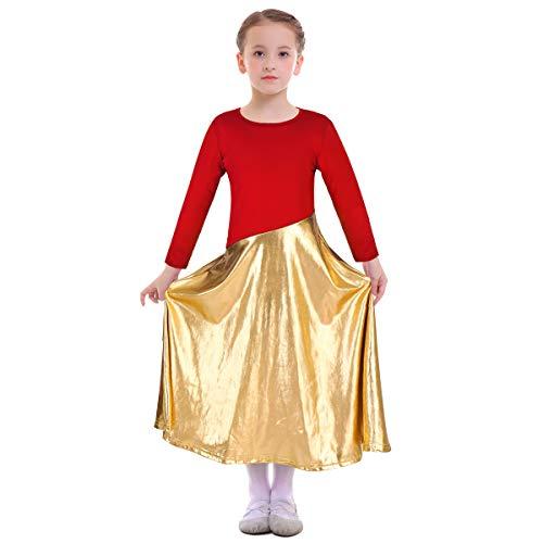 Obeeii body danza classica bambina manica lunga abito da ballo liturgico latino balletto ginnastica dancewear costume per ragazze 13-14 anni