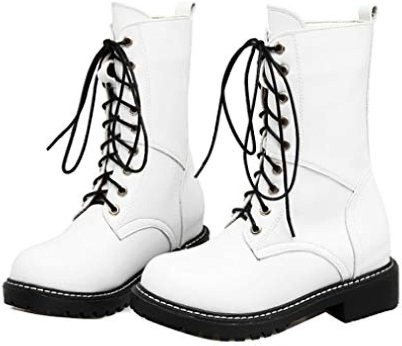 YUCH Scarpe da Donna Legate con Tacco Tacco Tacco Basso Stivali Casual Scarpe da Neve,Bianco,34 | Prestazioni Superiori  2ff0ef