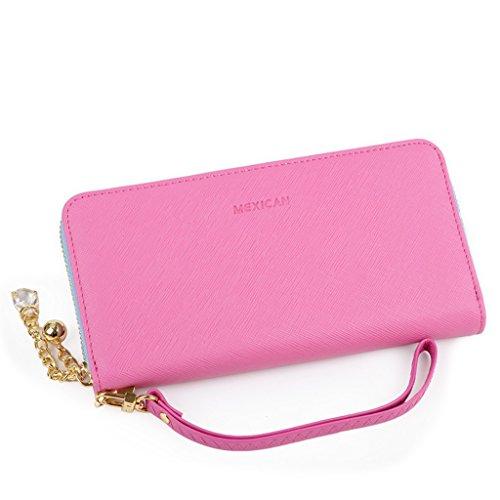 Purse sezione femminile della cerniera borsa a mano portafoglio semplice croce - portafoglio donne delle cartelle denaro 's modello ( colore : Il blu scuro. ) Rosa
