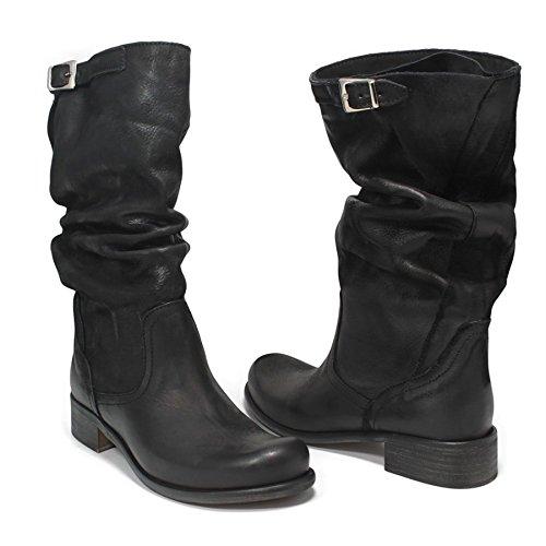 Stivali Biker Boots Estivi Metà Polpaccio Donna In Time 0205 Nero in Vera Pelle Made in Italy Nero