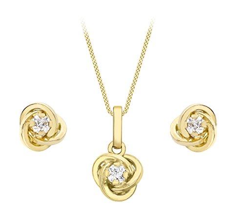Carissima Gold Set Collana con Pendente e Orecchini da Donna in Oro Giallo 9K (375) con Zirconio Cubico, 0.3ct, 46 cm