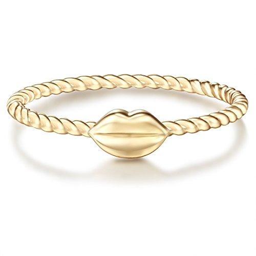 Glanzstücke München Damen-Ring Kussmund Sterling Silber gelbvergoldet - Motiv-Ring Kiss Freundschafts-Ringe schmaler Stapel-Ring schlicht, Gold, Gr. 56 (17.8)