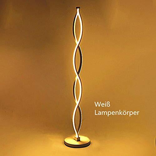 Twist Welle Dimmbar LED Stehleuchte - ELINKUME Modern Einzigartiges Design Warmweiß Beleuchtung 30W Brightest,Button Dimmbare Schalter,Weiß Eisen Material für Wohnzimmer/Schlafzimmer