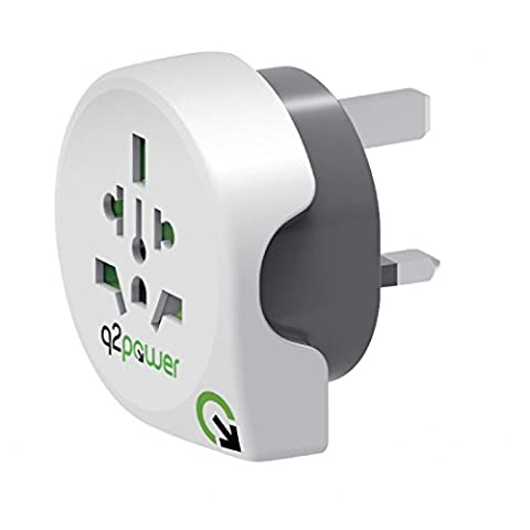 Q2 Power World to United Kingdom Travel Adaptor - White and Grey