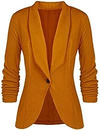 Minetom Femme Élégant Blazer à Manches Longues Slim Fit OL Bureau Affaires Veste De Costume Un Bouton Manteau Cardigan Blouson Jacket